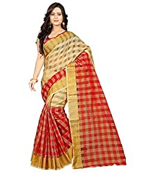 Lucky Infra Printed Faux Silk Unstitched Saree( Red )