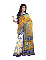 Anu Designer Self Print Saree (6409B_Multi-Coloured)
