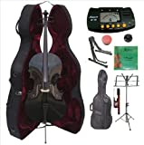 Merano 4/4 Full Size Black Cello with Hard Case, Bag and Bow+2 Sets of Strings+Cello Stand+Music Stand+Metro Tuner+Mute+Rosin