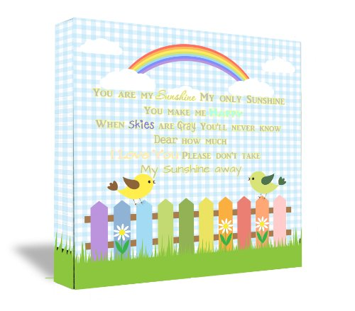 "22""X22"" Framed Canvas Print You Are My Sunshine My Only Sunshine You Make Me Happy When Skies Are Gray You'Ll Never Know Dear How Much I Love You Please Don'T Take My Sunshine Away (22''Width X 22'' Height) Cute Wall Art front-474591"