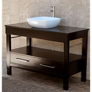 48 Bathroom Vanity Cabinet Black Granite Top Ceramic