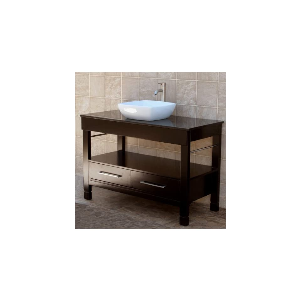 48 Bathroom Vanity Cabinet Black Granite Top Ceramic Vessel Sink Faucet CG2/cv20 (combo)