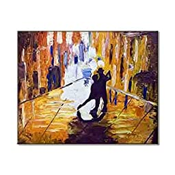 Jazzy Street Dancers Modern Urban Arts Stylish Painting Print On Canvas Elegant Young Decor