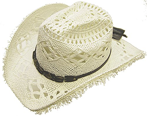 modestone-womens-cool-summery-straw-hat-straw-fringe-on-brim-l-white