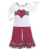 AnnLoren Girls Polka Dot Zebra Heart Pant Clothing Outfit