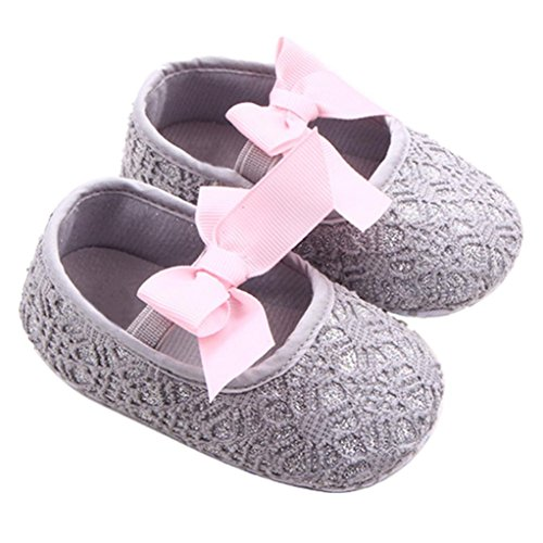 GOTD Glitter Baby Shoes Sneaker Anti-slip Soft Sole Toddler Prewalker (US 2.5, 0~6 Month , Gray )