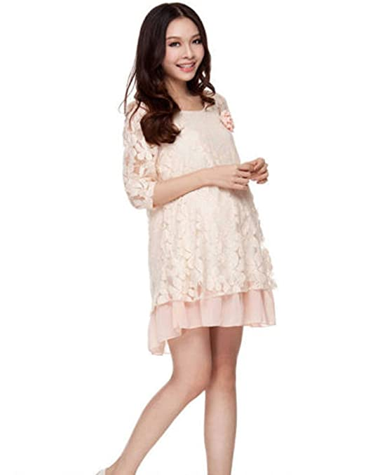 Women Maternity Half Sleeve Round Neck Summer Plus Size Cotton Dress
