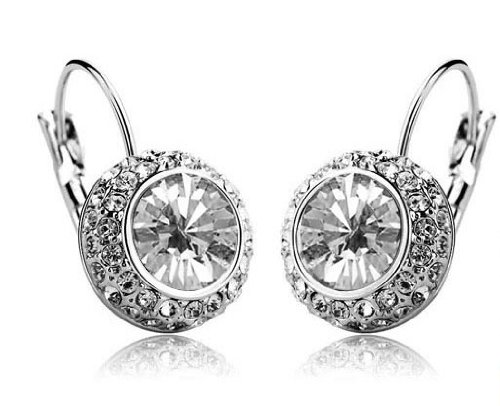 Eloquence - White Crystal Round Cut Earrings for Women