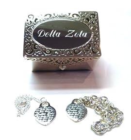 Sorority Silver Heart Necklace, Bracelet & Keepsake Box