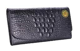 GUSTT® RFID Blocking Women Genuine Leather Accordion Style Crocodile Embossed Wallet (Black1b)