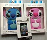 Pack of 2 Disney 3d Stitch Movable Ear Flip Silicone Cover for Iphone 4/4G/4S Blue and Pink Bonus Screen Protector Xmas Gift
