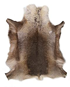 XL Genuine Reindeer Hide Grade A* Dark Natural Colours       review and more information