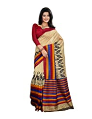 Anu Designer Self Print Saree (6411B_Multi-Coloured)