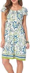 London Times Floral Print Smocked Knit Dress