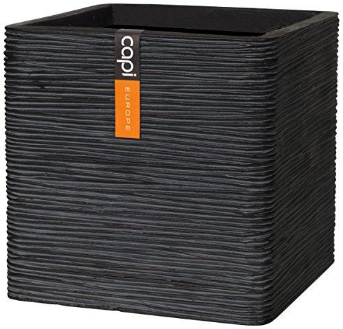 capi-lux-30-x-30-x-30-cm-ribbed-square-cube-planter-ii-black
