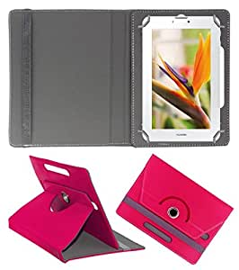 ECellStreet ROTATING 360° PU LEATHER FLIP CASE COVER FOR Simmtronics SIMM-X720 7 INCH TABLET STAND COVER HOLDER - Dark Pink