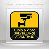 Decals Decal Audio And Video Surveillance At All Times Sign Motorbike Waterpr (4 X 4 In) (Tamaño: 4 X 4)