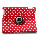 Auto Sleep/Wake Function 360 Degree Rotating Smart Case Cover for 9.7 inch Apple iPad 2/3/4 with a Stylus as a Gift--Dotted Pattern,Red