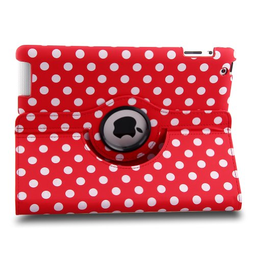 Generic All-New Pu Leather Luxury Stylish Slim-Fit Ultra Lightweight 360 Degrees Rotating Swivel Stand Polka Dot Pattern Design Series Smart Cover Case Support Auto Sleep/Wake Feature Protection Magenetic Function & Multi-Angle Viewing For Ipad Mini 2 Ipa