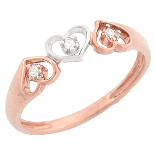 14ct Rose Gold Three Hearts Diamond Promise Ring