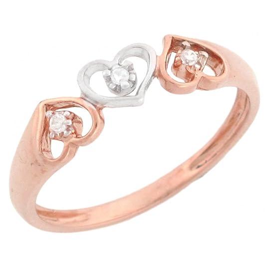 14ct Rose Gold Three Hearts Diamond Promise Ring