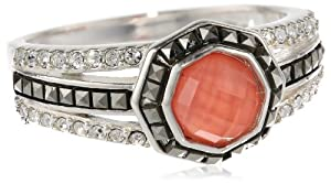 Judith Jack Mini Octagons Sterling Silver, Coral and Marcasite Stone Ring by Judith+Jack