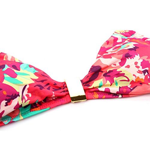 Phenovo Colloyes Red Floral Halter Top w/ Classic Cut Bottom Bikini Swimwear Size XL