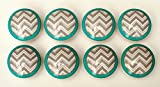 Set of 8 Grey and Turquoise Chevron Zig Zag Dresser Drawer Knobs