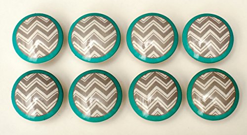 Set of 8 Grey and Turquoise Chevron Zig Zag Dresser Drawer Knobs (Dresser Knobs Turquoise compare prices)