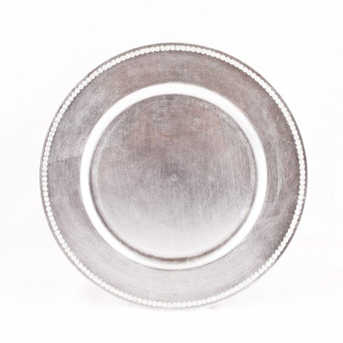 Koyal 4-Pack Charger Plates, Silver front-1051707