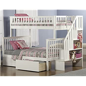 Woodland Staircase Bunk Bed with Urban Bed Drawers, White, Twin Over Full
