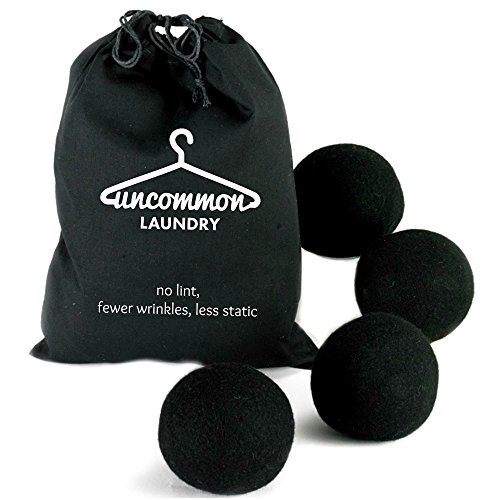 NO LINT Black Wool Dryer Balls for Dark & Colored Loads (4 Pk) - Natural Unscented Reduces Static/Wrinkles/Drying Time Replaces Disposable Dryer Sheets/Liquid Fabric Softeners, Unique Baby Shower Gift (Laundry Hair Remover compare prices)