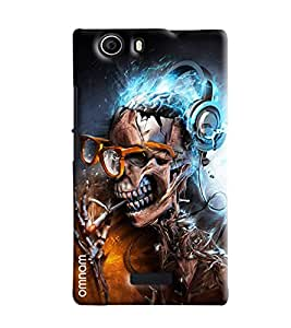 Omnam Skelton Head Laughing And Enjoying Music Printed Designer Back Cover Case For Micromax Nitro2 E311