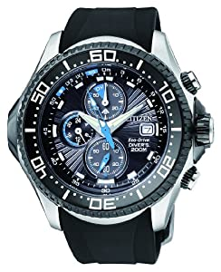 Citizen Men's BJ2117-01E Eco-Drive Depth Meter Chronograph Metric Rubber Dive Watch