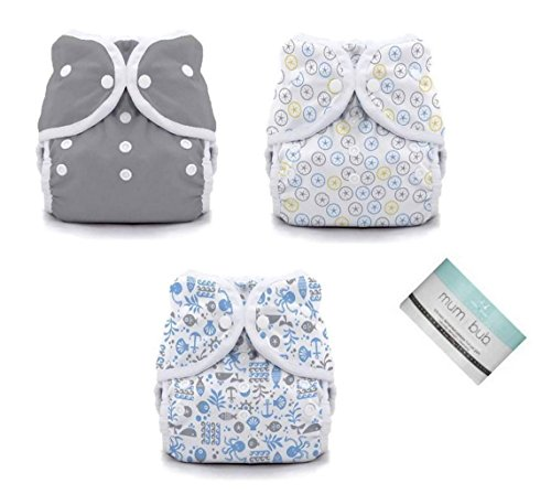 Thirsties Duo Wrap Snaps Diaper Covers 3 pack Combo Fin, Silver Dollar, Ocean Life Sz 2 - 1