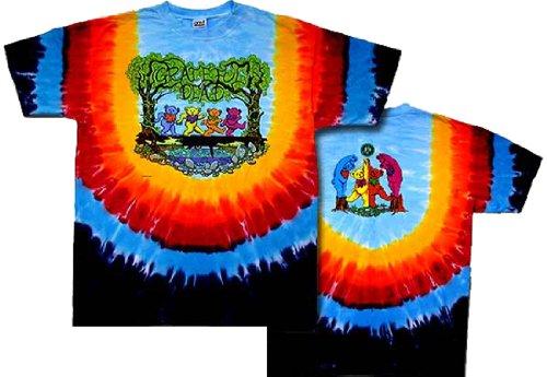 Tie Dyed Shop Grateful Dead Wood Bears Tie Dye T-Shirt-2X-Multicolor (Greatful Dead Bear)
