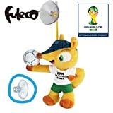 2014 Brazil Football World Cup Fuleco Plush Toy 13cm with suction cup holding the ball pose