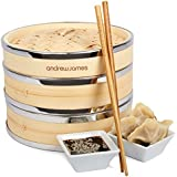 """Andrew James 8"""" 2 Tier Bamboo Steamer With Banding, Includes Chopsticks, Dim Sum Steamer Papers And 2 Year Warranty"""