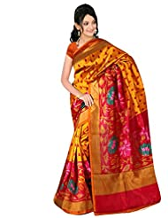 Shonaya Golden Colour Printed Royal Silk Sarees With Unstiched Blouse Piece