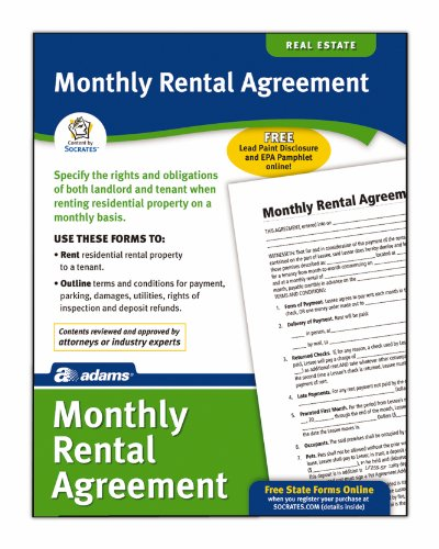 Adams Month-to-Month Rental Agreement Form, 8.5 x 11 Inch, 4-Pack, White (LF255)