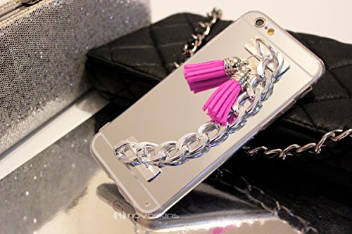 iPhone 6s / 6 Novoskins Silver Argento Luxe Clutch Chain Mirror Specchio Reflector Case with Rosa Fringe Tassels (A/W Designer Collection)