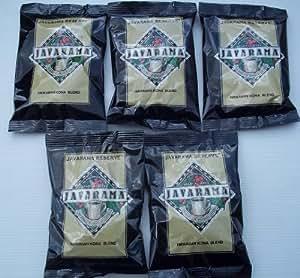 JAVARAMA 100% Arabica Coffee Hawaiian Kona Blend (Kosher Pareve) 5 - 2.5 Oz. Bags