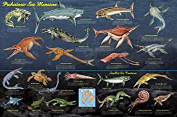 Laminated Prehistoric Sea Monsters Poster