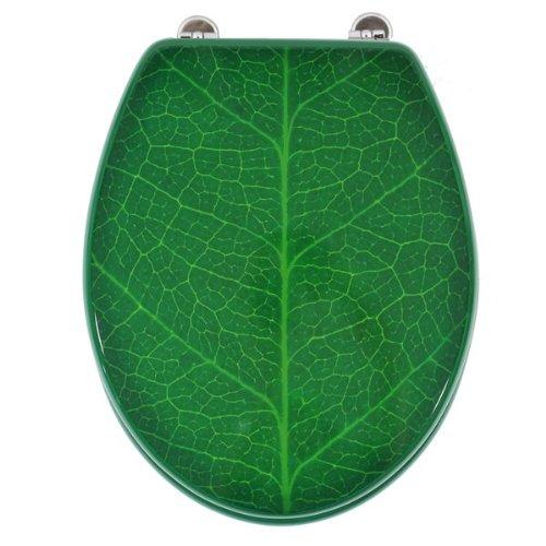 Carpemodo WC Sitz WC Deckel Klodeckel MDF robustem Holzkern Antibakteriell Scharniere aus Metal Größe 43x36cm Farbe Grün Design Blatt 190152
