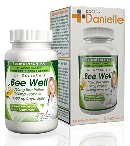 Dr. Danielle s Bee Well (Royal Jelly 1500mg, Propolis 1000mg, Beepollen 750mg) in 4 Daily Capsules by Doctor Danielle