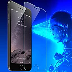 iPhone 6 Plus Anti Blue Light Screen Protector By Protech Defense Blocks Blue Light Retina Damage Tempered Ashai HD Glass Fits 6 and 6s Plus Easy Install Kit