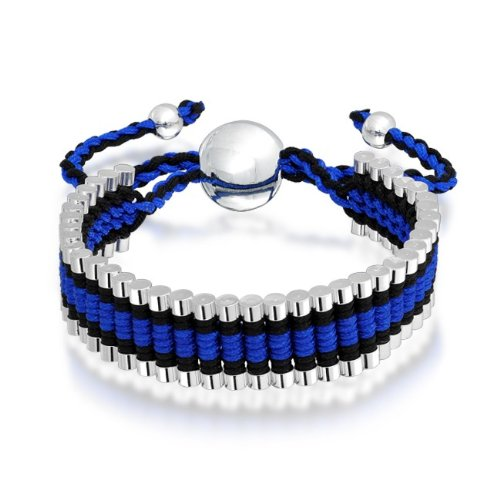 Bling Jewelry Silver Plated Linked Bars Blue and Black Adjustable Friendship Bracelet