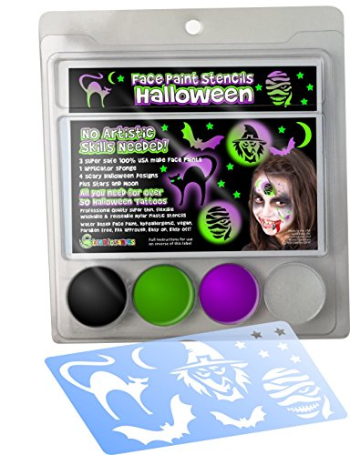 Face Paint Stencil kit HALLOWEEN IMAGES for Kids. NO ARTISTIC SKILLS NEEDED! Pocket Pack: 3 Safe Hypoallergenic Super Concentrated Colors, Stencils, Sponge & How-to Guide for 50+ tattoos. 100% (How To Make A Scary Clown Costume)
