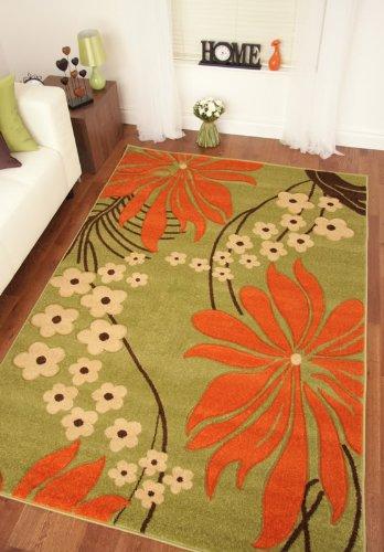 Napoli Lime Green Orange Brown Modern Floral Print Thick Rug 160x230cm (5'3