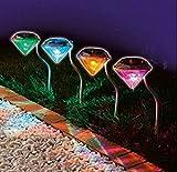【ポイント還元セール】【 led ガーデンライト 4個 セット 】 ダイヤモンド 型 ソーラー 充電 ledライト ソーラーライト (七色)